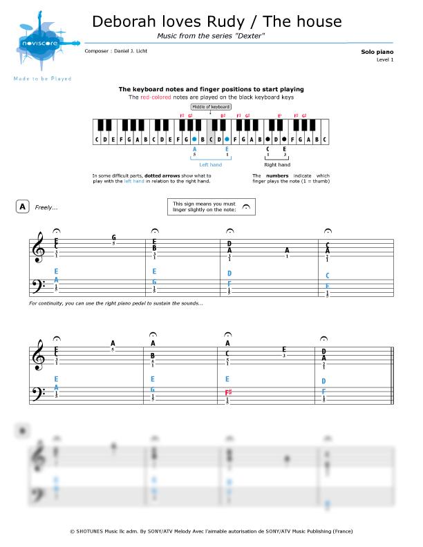 Piano Sheet Music Deborah Loves Rudy Daniel Licht