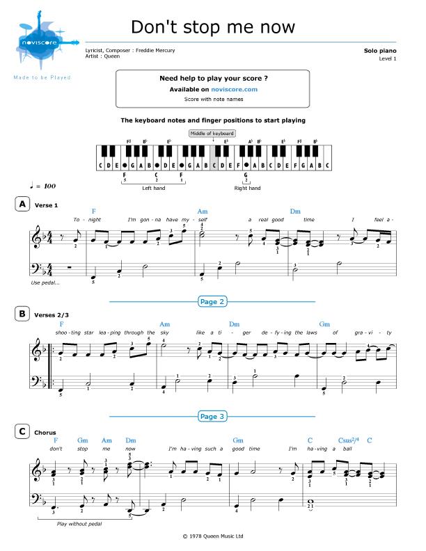 Piano sheet music Don't Stop Me Now (Queen) | Noviscore sheets