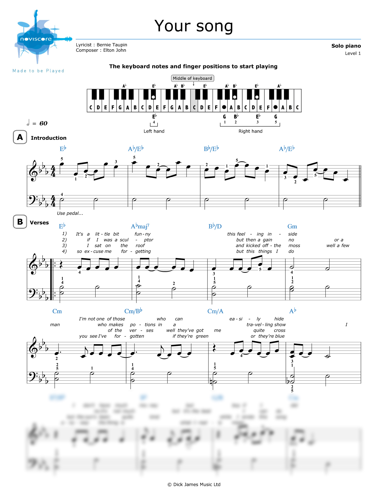 Piano Sheet Music Your Song Elton John Noviscore Sheets