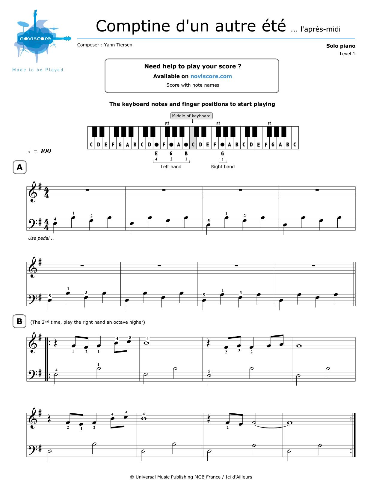 Piano Sheet Music Comptine Dun Autre été Yann Tiersen
