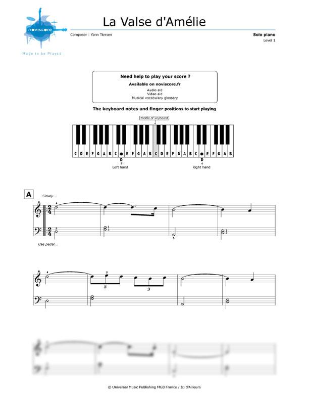 Piano Sheet Music Amélies Waltz Yann Tiersen Noviscore