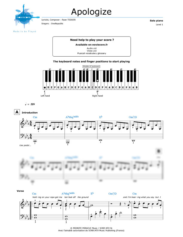 Apologize onerepublic piano sheet music download. Interest ...