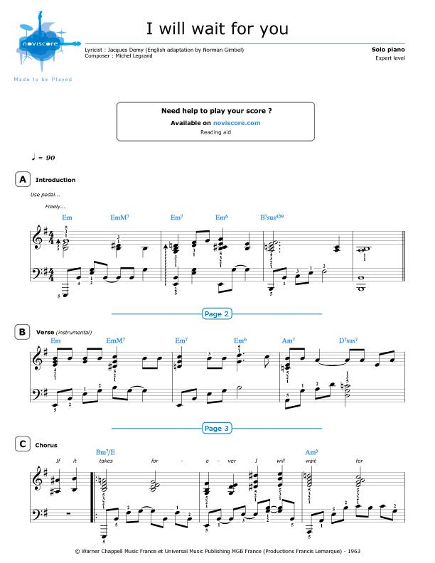 Piano Sheet Music I Will Wait For You Michel Legrand Noviscore