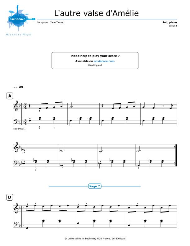 Piano Sheet Music Lautre Valse Damélie Yann Tiersen
