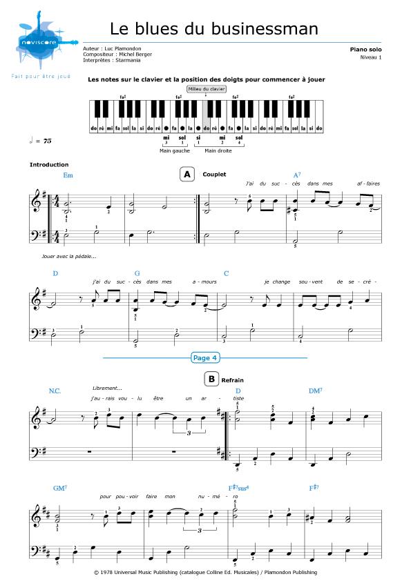 Piano easy piano blues sheet music : Piano sheet music Le blues du businessman (Starmania)   Noviscore ...