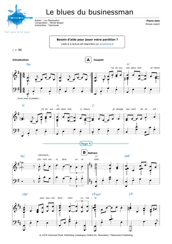 Piano sheet music Le blues du businessman (Starmania