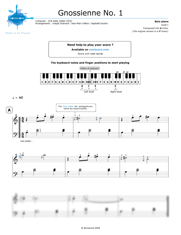 All Music Chords gnossienne no 1 sheet music : Piano sheet music Gnossienne No. 1 (Erik Satie) | Noviscore sheets