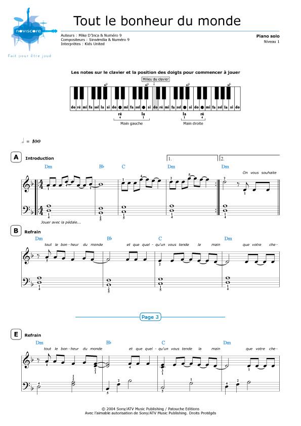 Piano sheet music tout le bonheur du monde kids united - Tapis tout le monde bochart ...