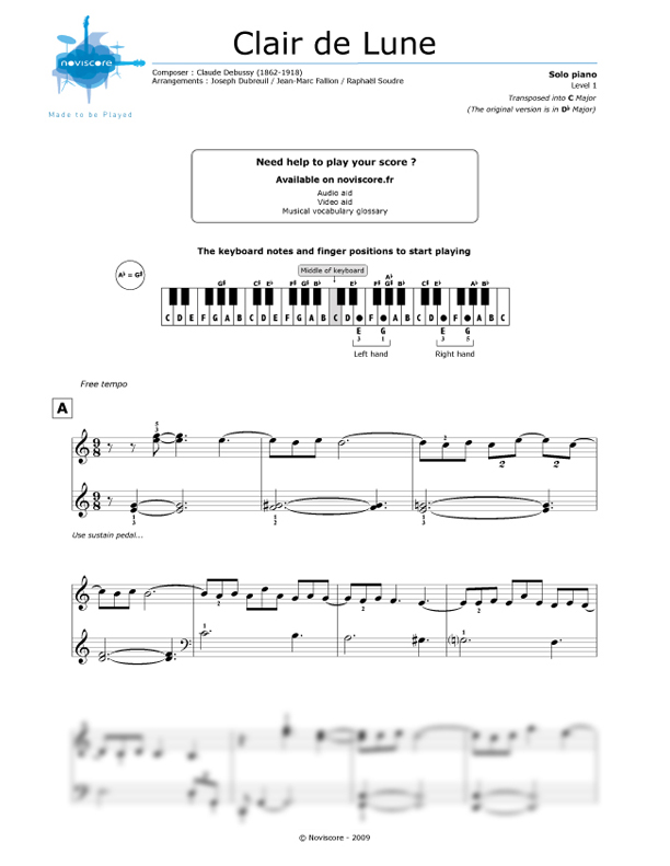 Piano free piano sheet music clair de lune : Piano sheet music Clair de lune (Claude Debussy) | Noviscore sheets