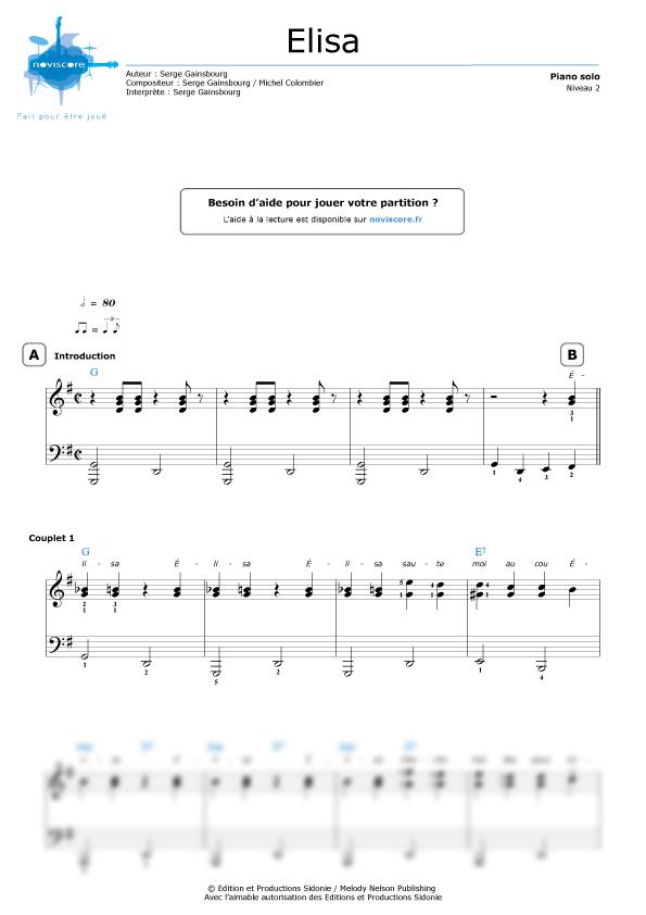 Piano sheet music Elisa (Serge Gainsbourg) | Noviscore sheets