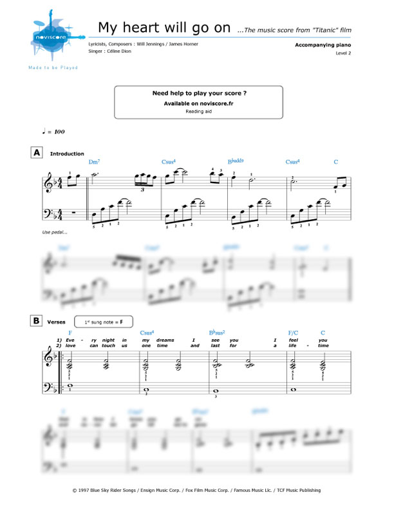 Piano Sheet Music My Heart Will Go On Cline Dion Noviscore Sheets