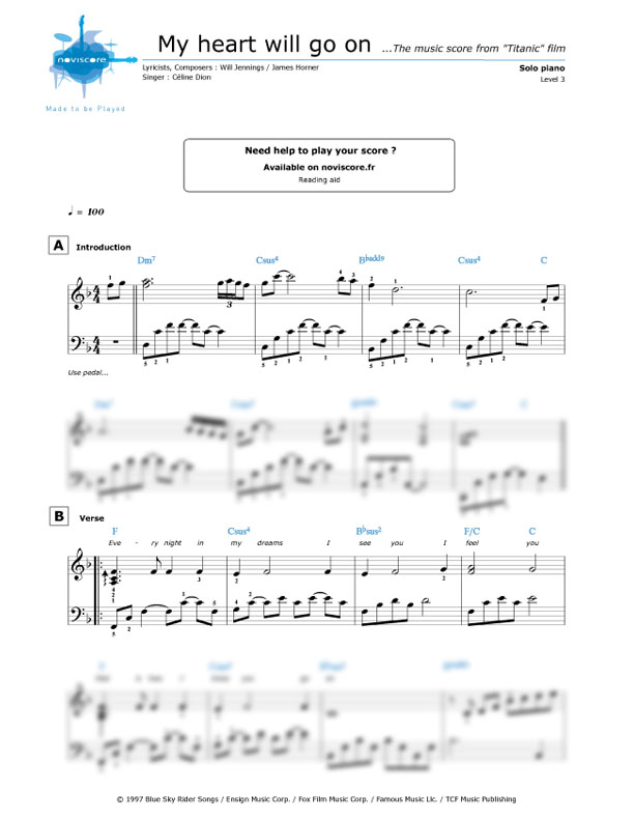 All Music Chords my heart will go on sheet music : Piano sheet music My Heart Will Go On (Céline Dion) | Noviscore sheets
