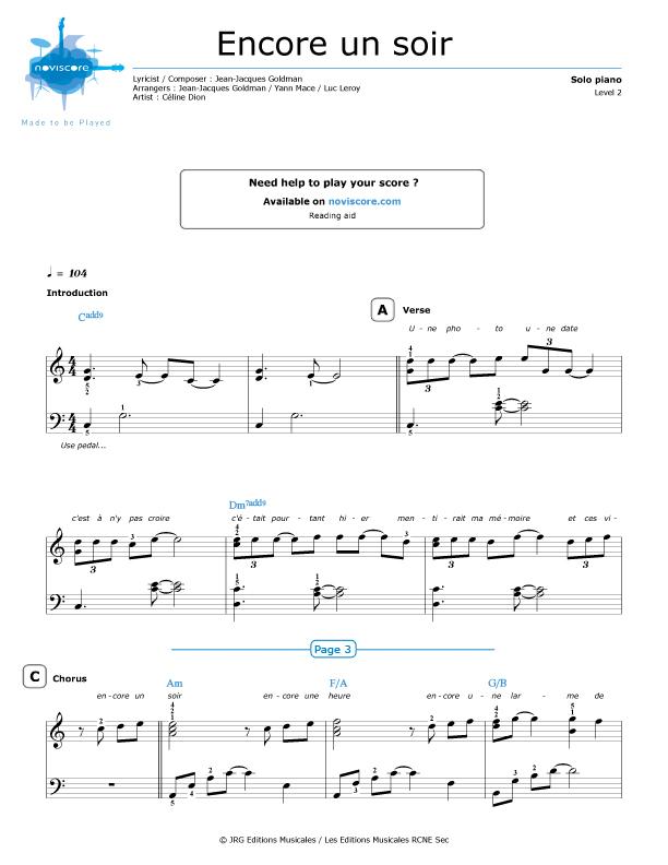 Piano sheet music Encore un soir (Céline Dion) | Noviscore sheets