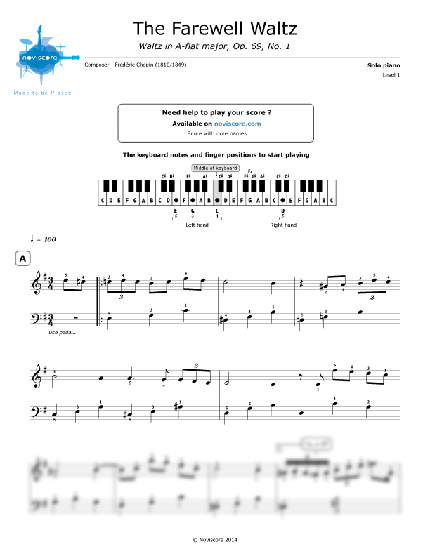 Piano sheet music La valse de l'Adieu (The Farewell Waltz