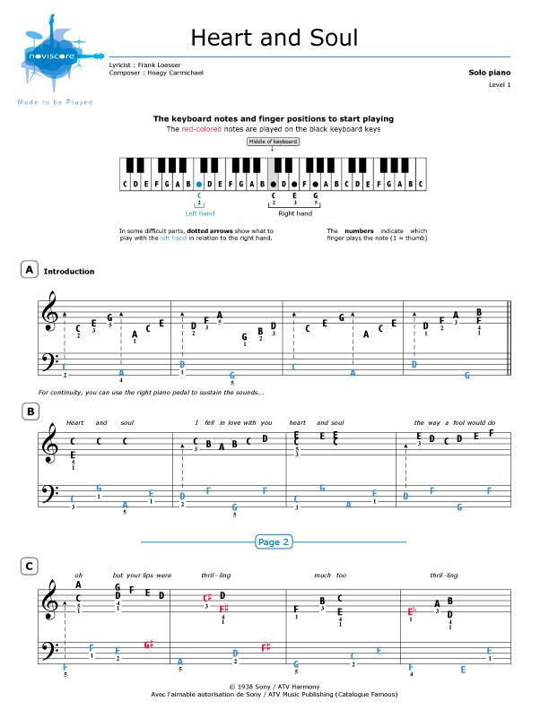 Heart and Soul by Hoagy Carmichael free piano sheets