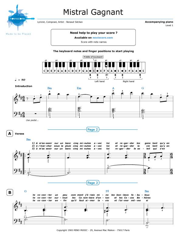 Piano sheet music Mistral Gagnant (Renaud) : Noviscore sheets