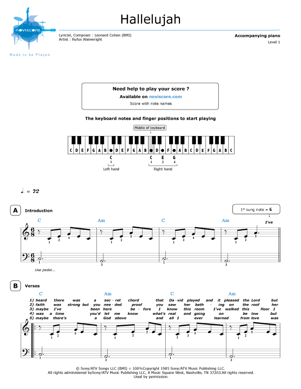 Piano sheet music Hallelujah (Rufus Wainwright) | Noviscore sheets