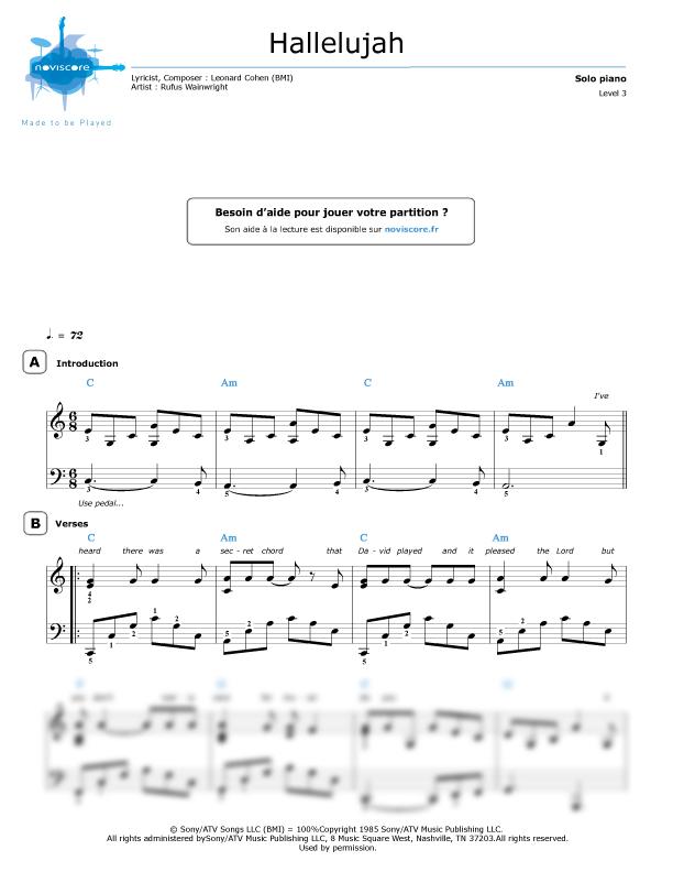 Image result for rufus wainwright hallelujah sheet music in c major
