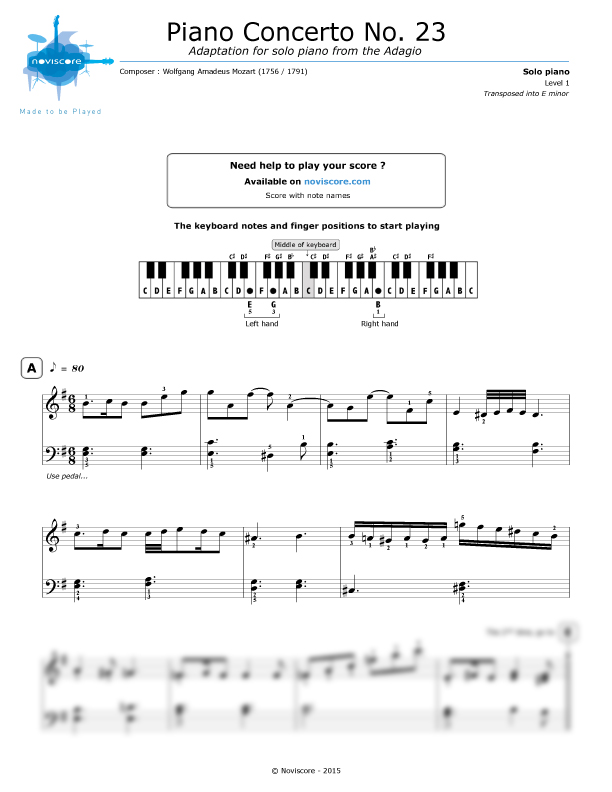 Piano sheet music Piano Concerto No. 23 (Adagio) (W.A. Mozart ...