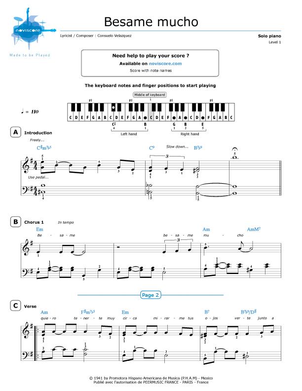 Piano Sheet Music Besame Mucho Consuelo Velazquez Noviscore Sheets