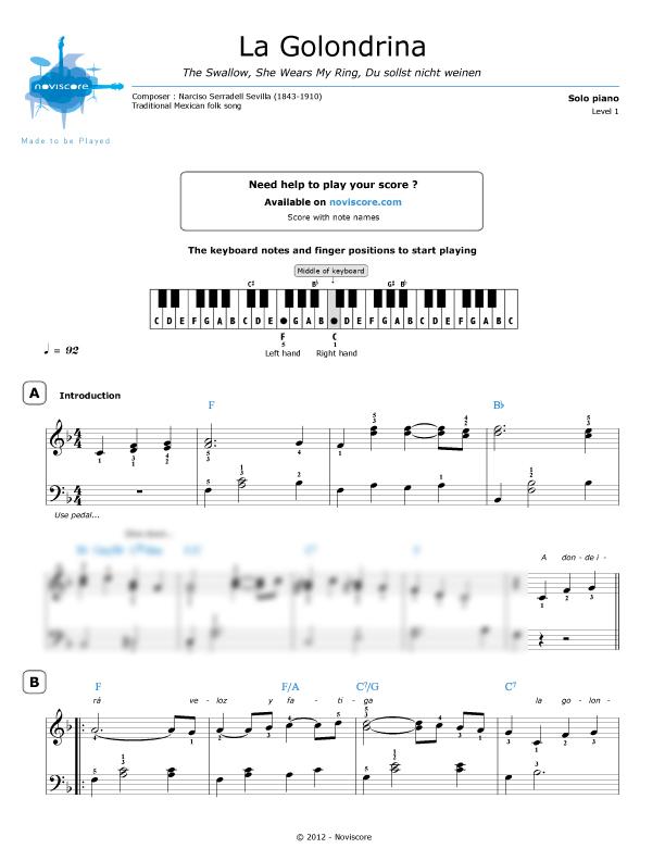 Piano piano trio sheet music : Piano sheet music La Golondrina (Trio Los Panchos) | Noviscore sheets