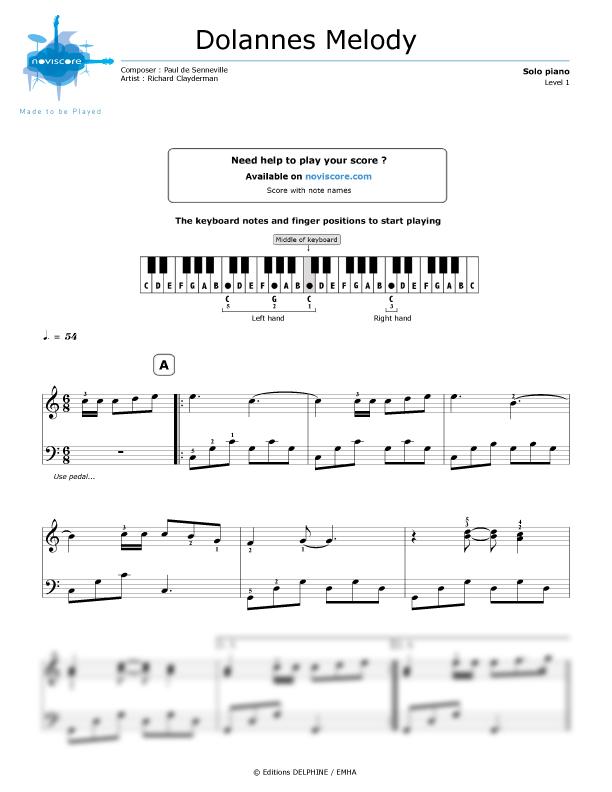 Piano sheet music Dolannes Melody (Richard Clayderman