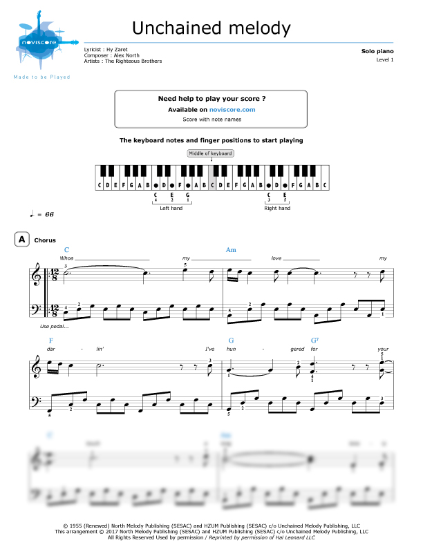 Piano sheet music Unchained Melody (The Righteous Brothers