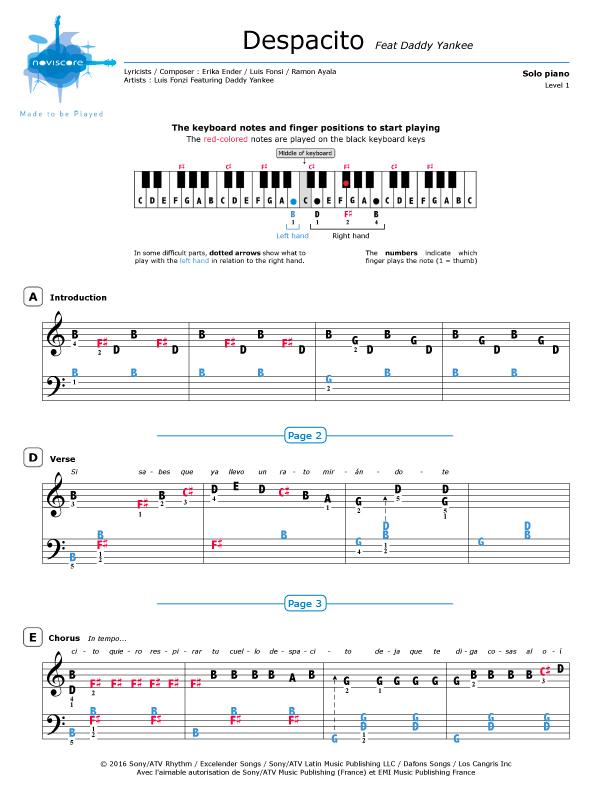 Piano sheet music Despacito (Luis Fonsi feat  Daddy Yankee
