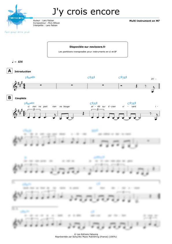 All Music Chords can you feel the love tonight sheet music : Other sheet music J'y crois encore - (Lara Fabian) - easy sheet ...