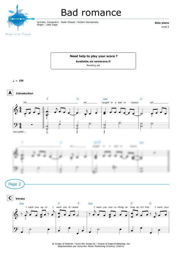 lady gaga piano sheet music pdf