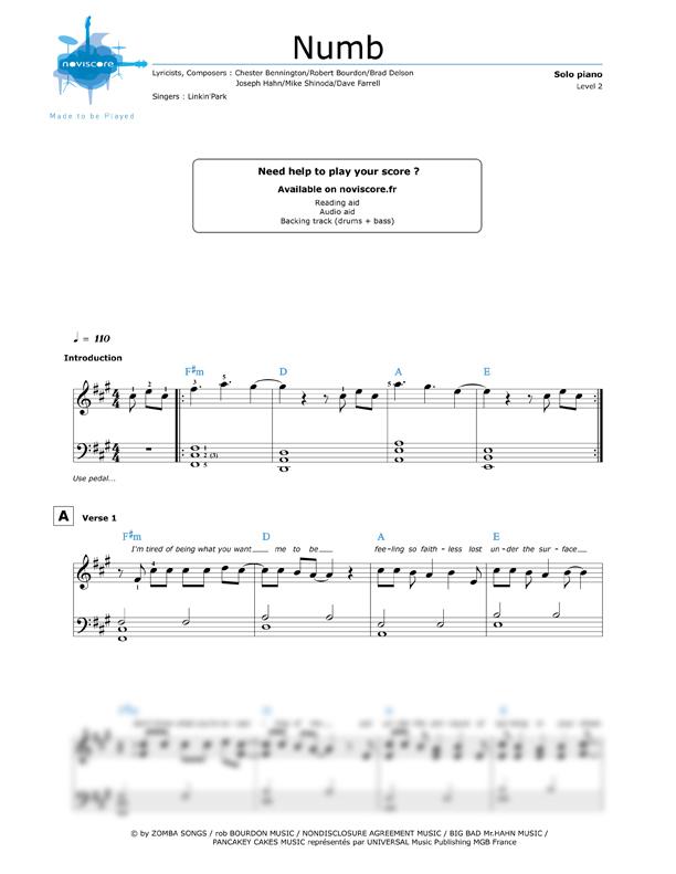 Piano sheet music Numb (Linkin' Park) | Noviscore sheets