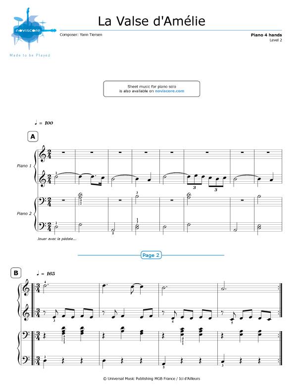 Piano 4 Hands Amélies Waltz Yann Tiersen Partitions