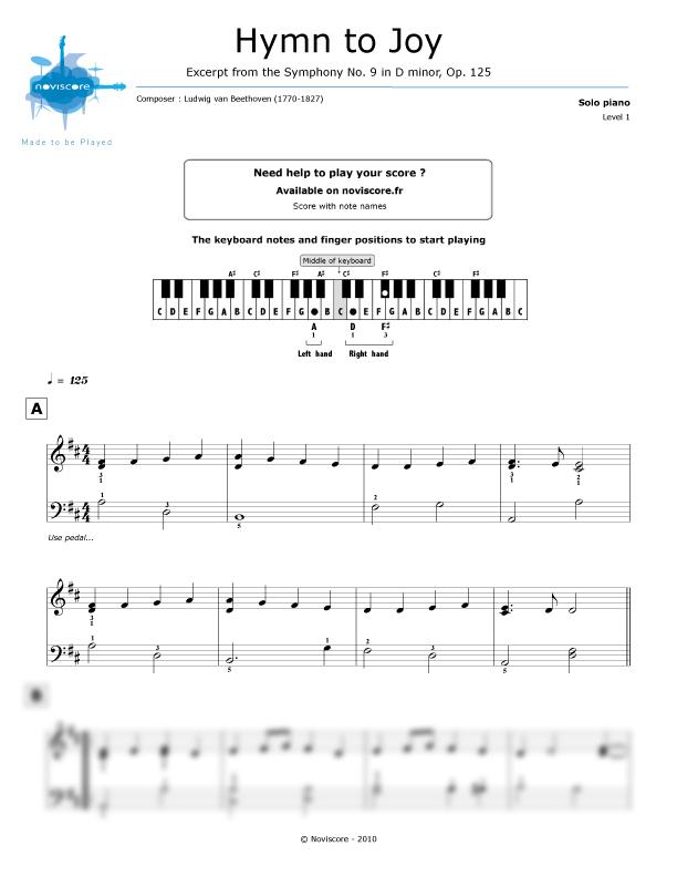 Piano sheet music Ode to Joy (Ludwig van Beethoven