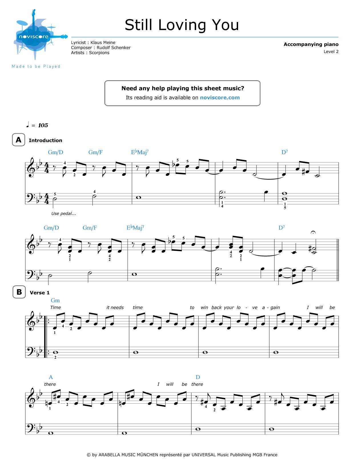 Piano piano note sheet : Piano sheet music Still Loving You (Scorpions) | Noviscore sheets