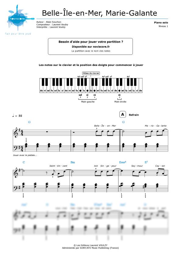 Piano sheet music Belle-Île-en-Mer, Marie-Galante (Laurent Voulzy ...