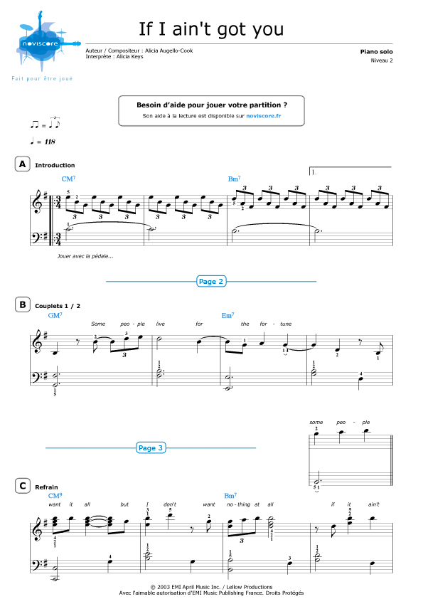 All Music Chords if i ain t got you sheet music : Piano sheet music If I ain't got you (Alicia Keys) | Noviscore sheets