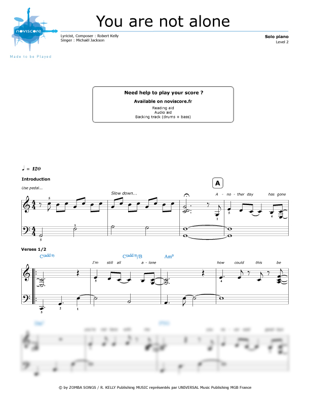 Piano sheet music You are not alone (Michael Jackson