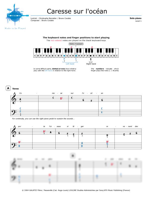 Piano sheet music Caresse sur l'océan (Les Choristes
