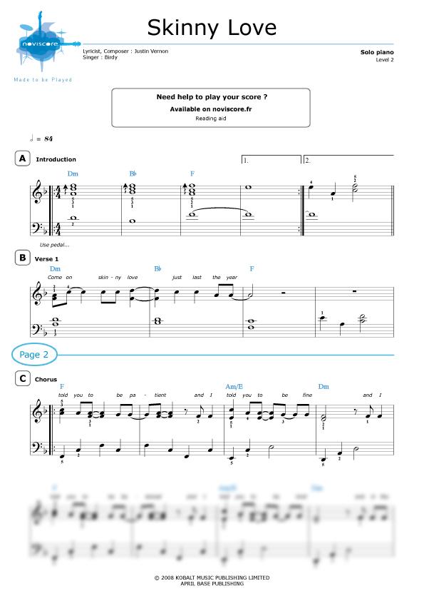 Piano sheet music Skinny Love (Birdy) | Noviscore sheets