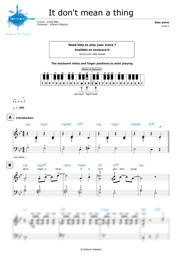 Piano easy piano blues sheet music : Piano sheet music It don't mean a thing (Duke Ellington ...