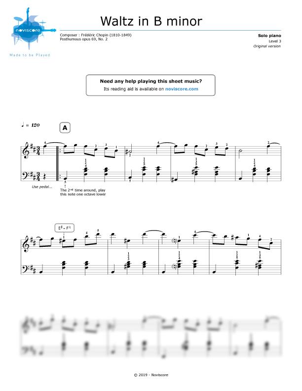 Piano Sheet Music Waltz In B Minor Frédéric Chopin