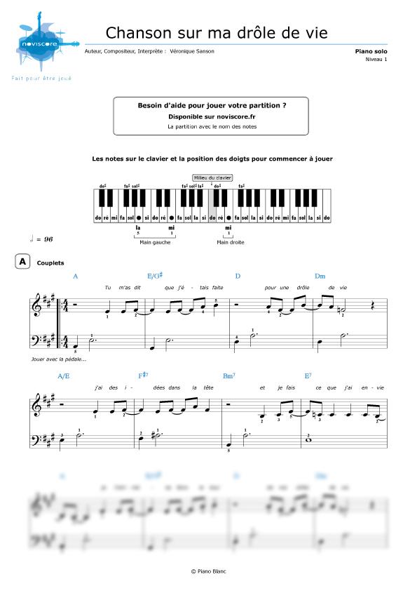 Piano Sheet Music Chanson Sur Ma Drôle De Vie (Véronique