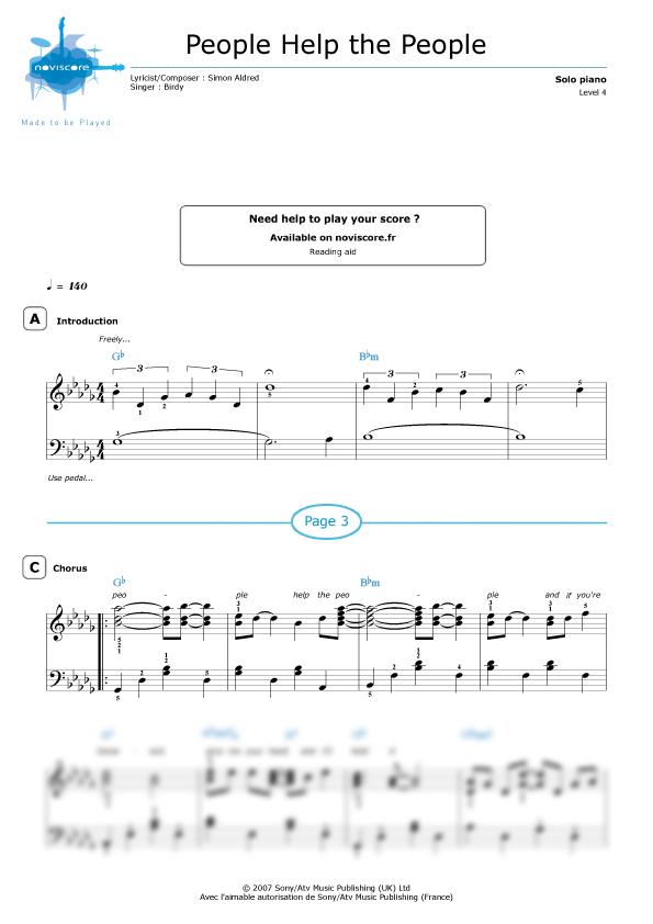 Piano sheet music People Help the People (Birdy) | Noviscore