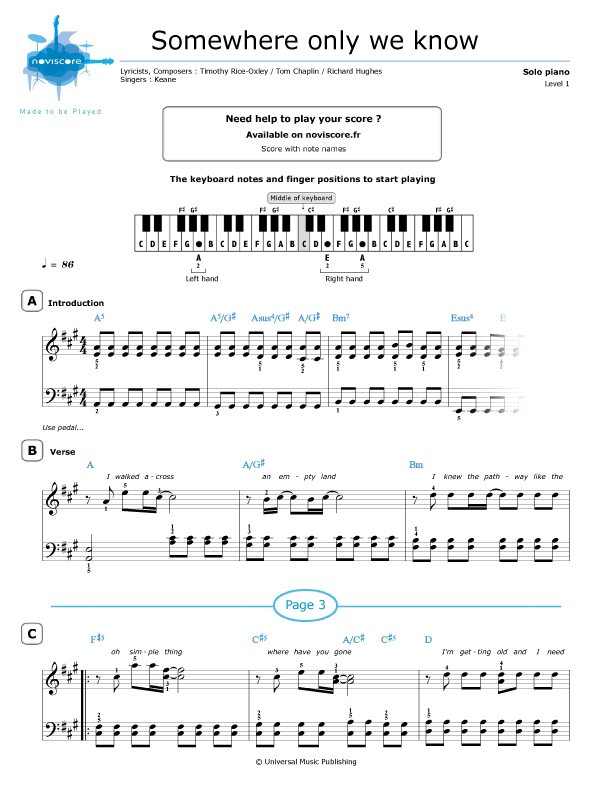 Piano somewhere only we know piano sheet music : Piano sheet music Somewhere only we know (Keane) | Noviscore sheets