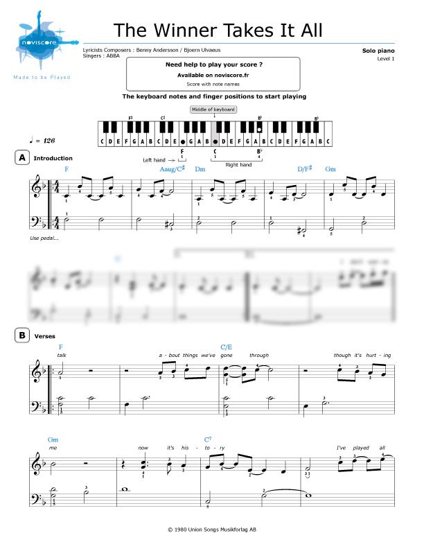 piano sheet music the winner takes it all abba noviscore sheets