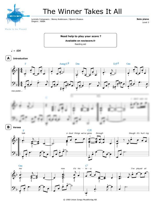 the winner takes it all sheet music pdf