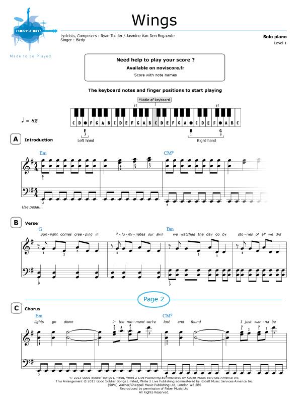 Piano sheet music Wings (Birdy) | Noviscore sheets