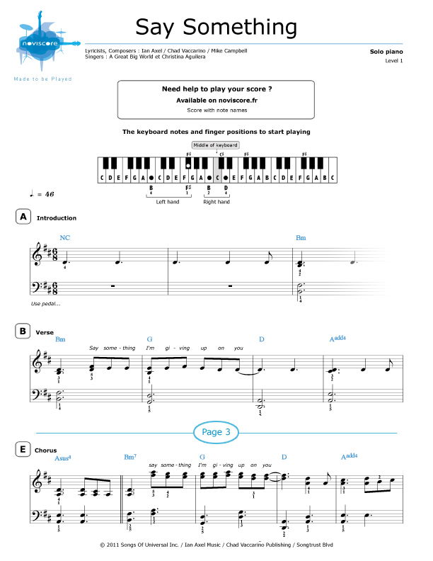 All Music Chords sheet music for say something : Say Something Piano Sheet Music - Complete Guitar Intervals Lesson ...