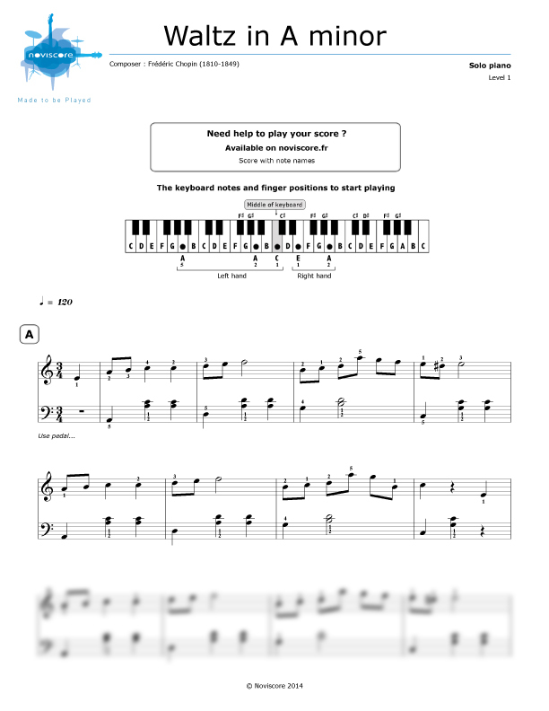 Piano sheet music Waltz in A minor (Frédéric Chopin) | Noviscore sheets