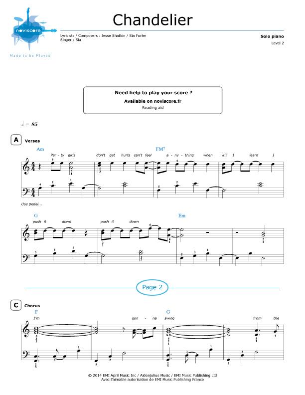 Piano sheet music Chandelier (Sia) | Noviscore sheets